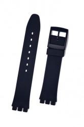 Hirsch Tim, Watch Strap for Swatch in Blue, 17mm, Plastic Buckle