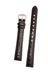 Hirsch 'Crocograin' Black Leather Strap, 15mm