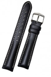 Hirsch 'Heavy Calf' 24mm Black Leather Strap