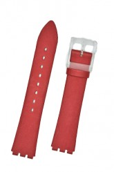 Hirsch Sarah, Watch Strap for Swatch Slim in Red, 16mm, Plastic Buckle