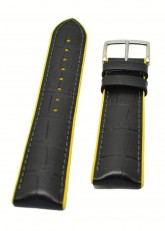 Hirsch 'Andy' Performance 24mm Black and Yellow Strap