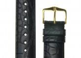 Hirsch 'Genuine Alligator' M 16mm  Black Leather Strap