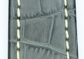 Hirsch 'Knight' 28mm Grey Leather Strap