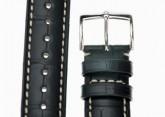 Hirsch 'Viscount' Black Leather Strap, 20mm