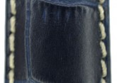 Hirsch 'Modena' Blue Leather Strap, 24mm