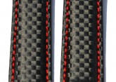 Hirsch 'Carbon' High Tech 18mm Black & red Leather Strap