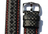 Hirsch 'Carbon' High Tech 20mm Black & red Leather Strap