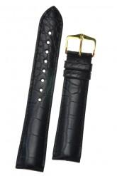 Hirsch 'Genuine Alligator' 22mm Black Leather Strap