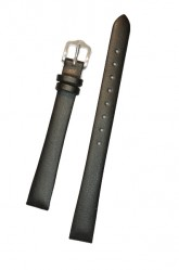 Hirsch 'Diamond calf'' Black Leather Strap, L,16mm
