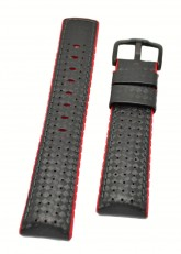 Hirsch 'Ayrton' Performance 24mm Black and Red Strap
