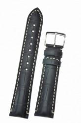 Hirsch 'Viscount' Black Leather Strap, 19mm
