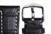 Hirsch 'Knight' 24mm Black Leather Strap
