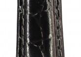 Hirsch 'Crocograin' Long Black Leather Strap, 14mm