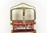 Hirsch 'Genuine Croco' M 15mm Golden Brown Leather Strap