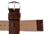 Hirsch 'Crocograin' Brown Leather Strap, 20mm