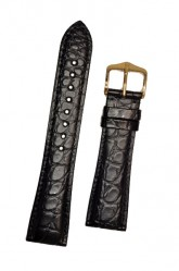 Hirsch 'Regent' M Black Leather Strap, 19mm