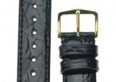 Hirsch 'Genuine Croco' M 18mm Black Leather Strap