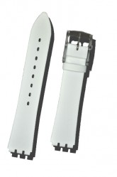 Hirsch Sarah, Watch Strap for Swatch Slim in White, 16mm, Plastic Buckle