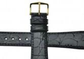 Hirsch 'Genuine Croco' 19mm Black Leather Strap
