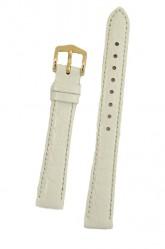 Hirsch 'Crocograin' Medium White Leather Strap, 16mm