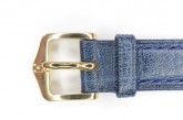 Hirsch 'Camelgrain' 14mm Blue Leather Strap