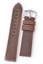 Hirsch 'Terra' Brown Leather Strap, 24mm