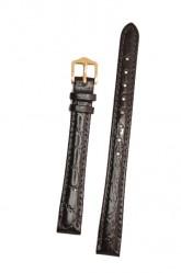 Hirsch 'Crocograin' Long  Black Leather Strap, 12mm
