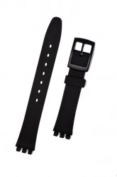 Hirsch Lady Tim, Watch Strap for Swatch  in Black, 12mm, Plastic Buckle