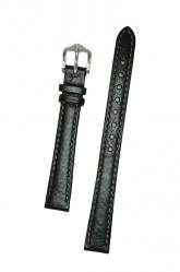 Hirsch 'Forest' Soft Calfskin Black Leather Strap,M, 12mm