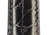 Hirsch 'Crocograin' Long Black Leather Strap, 20mm