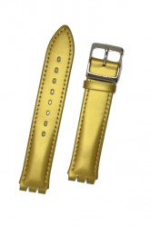 Hirsch Grace, Watch Strap for Swatch Gents in Gold, 16mm, Steel Buckle