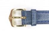 Hirsch 'Camelgrain' L 16mm Blue Leather Strap