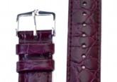 Hirsch 'Crocograin' Purple Leather Strap, 12mm