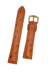 Hirsch 'Massai Ostritch'  M Golden Brown Leather Strap, 17mm