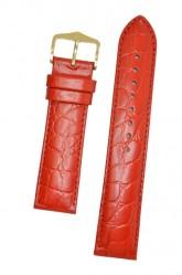 Hirsch 'Crocograin' Red Leather Strap,M, 18mm