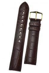 Hirsch 'Genuine Alligator' M 18mm  Brown Leather Strap