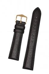 Hirsch 'Camelgrain' L 20mm Black Leather Strap