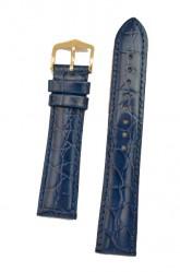 Hirsch 'Crocograin' Blue Leather Strap, 18mm