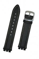 Hirsch Sailor, Watch Strap for Swatch Gents in Black, 17mm, Steel Buckle