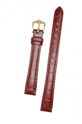 Hirsch 'Crocograin' Burgundy Leather Strap,M, 20mm