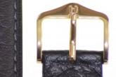 Hirsch 'Camel Grain' Black Leather Strap, 16mm