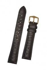 Hirsch 'Massai Ostritch' Black Leather Strap, 19mm