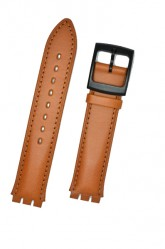 Hirsch William, Watch Strap for Swatch Gents in Golden Brown, 17mm, Plastic Buckle
