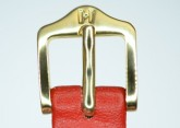 Hirsch 'Diamond calf'' Red Leather Strap,M, 14mm