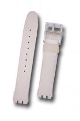 Hirsch Luna, Watch Strap for Swatch in White, 16mm, Plastic Buckle