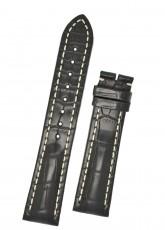 Hirsch 'Capitano' 24mm Matt Black Alligator Leather Strap